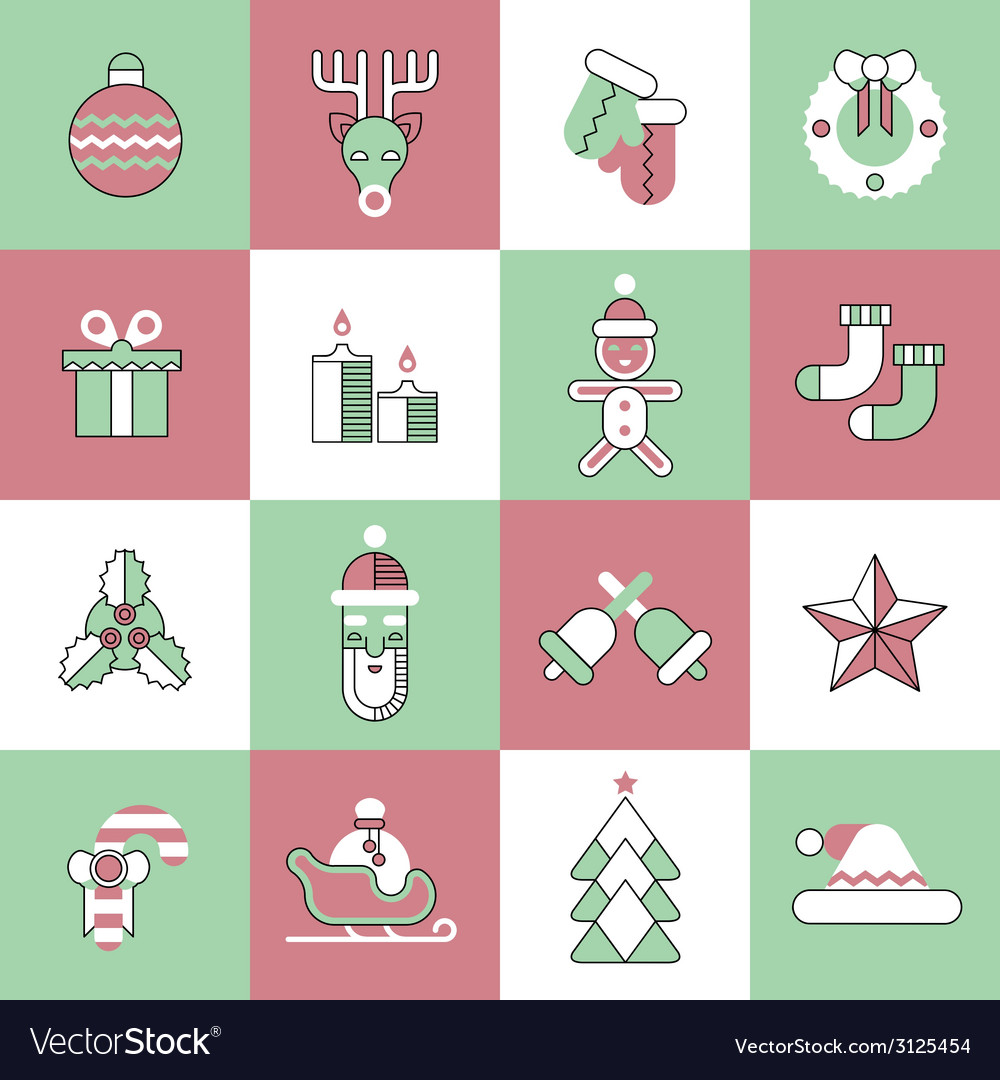 Christmas icons set flat line vector | Price: 1 Credit (USD $1)