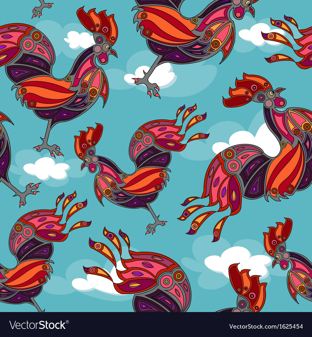 Crowing rooster seamless vector | Price: 1 Credit (USD $1)