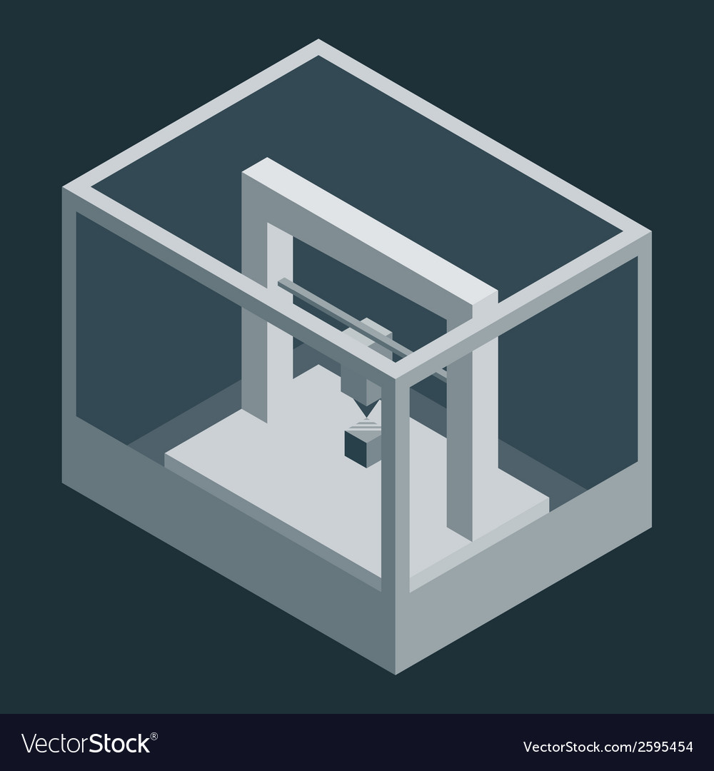 Dark isometric 3d printer vector | Price: 1 Credit (USD $1)