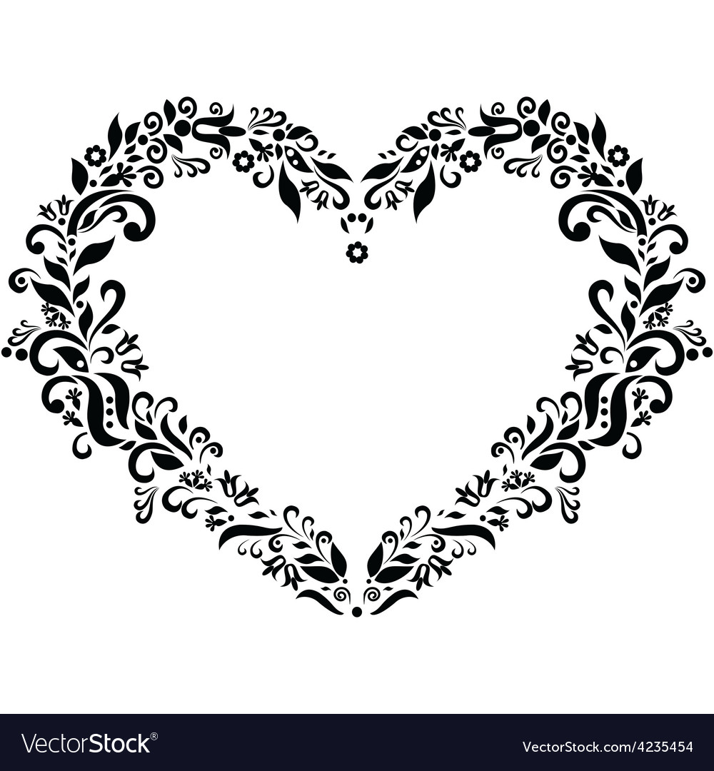 Embroidery inspired heart shape vector | Price: 1 Credit (USD $1)