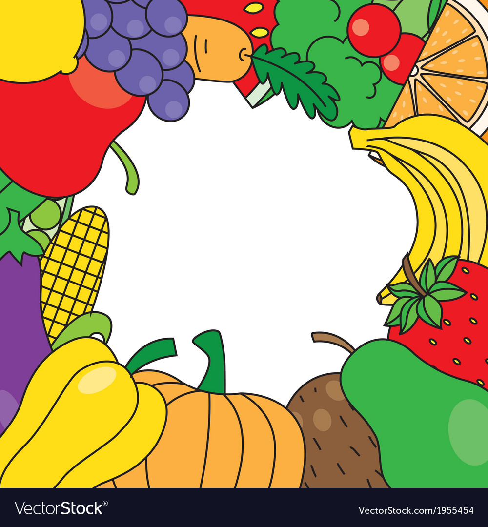 Fruits and vegetables frame vector | Price: 1 Credit (USD $1)