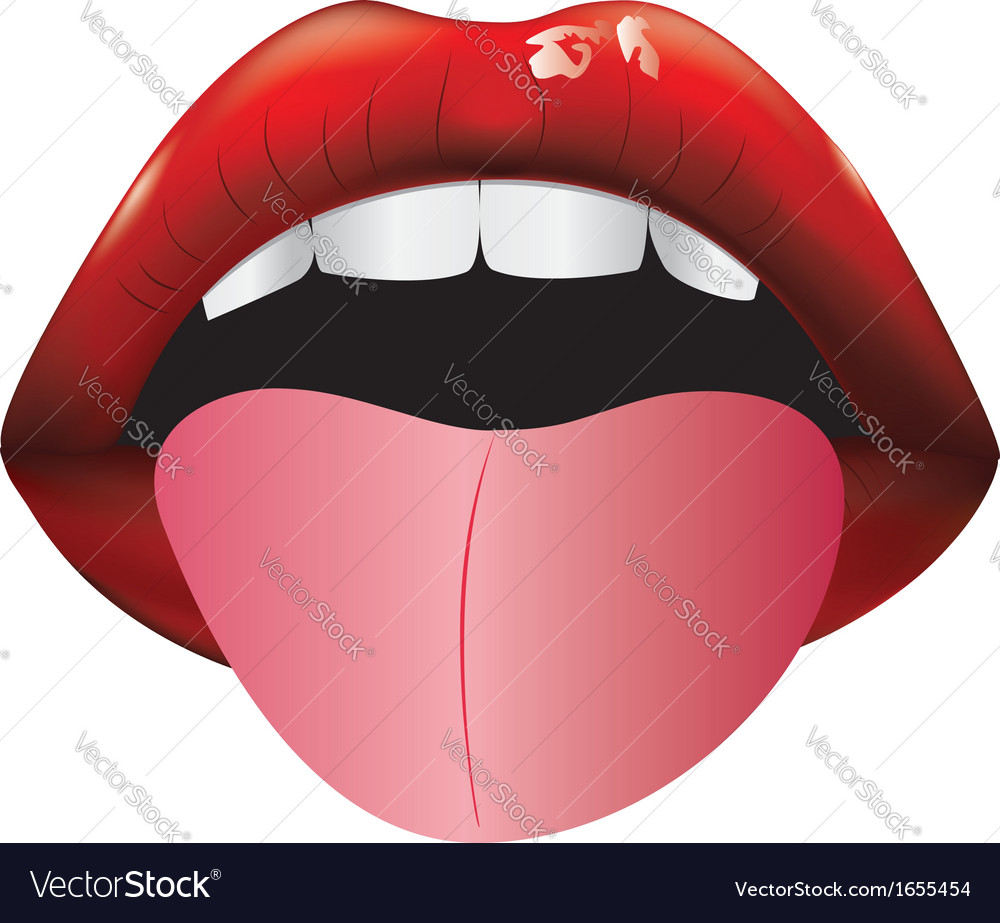Open mouth with tongue vector | Price: 1 Credit (USD $1)
