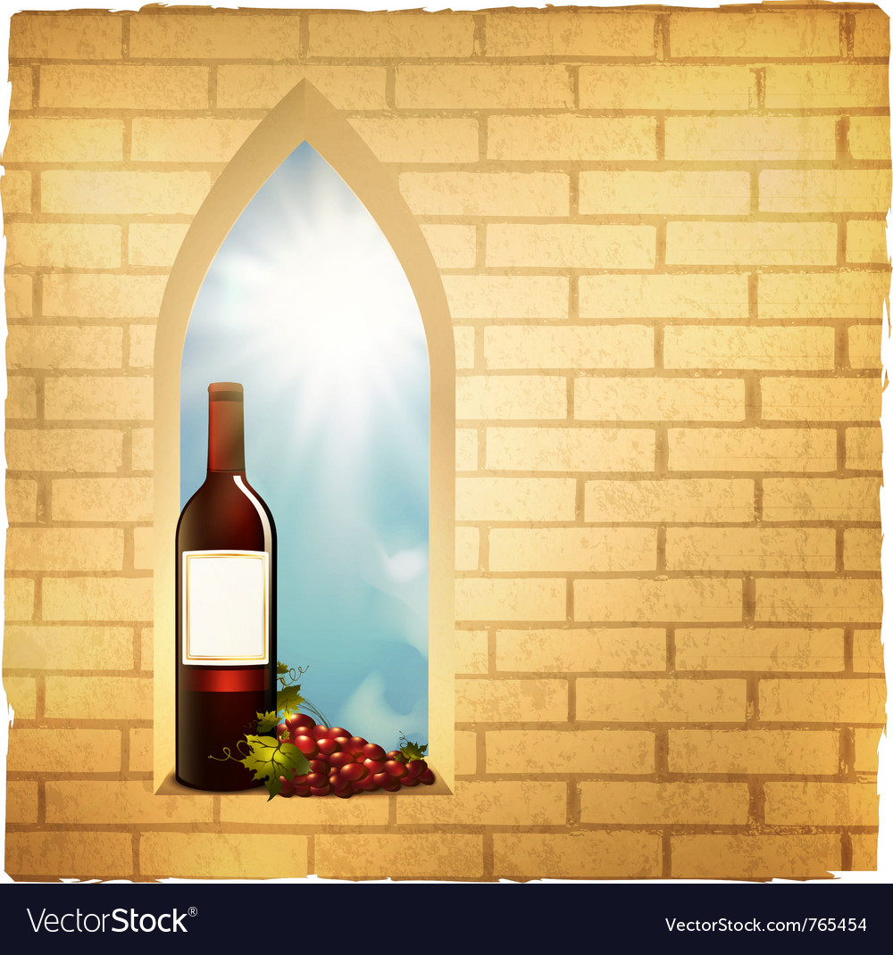 Red wine bottle in arc window vector | Price: 3 Credit (USD $3)