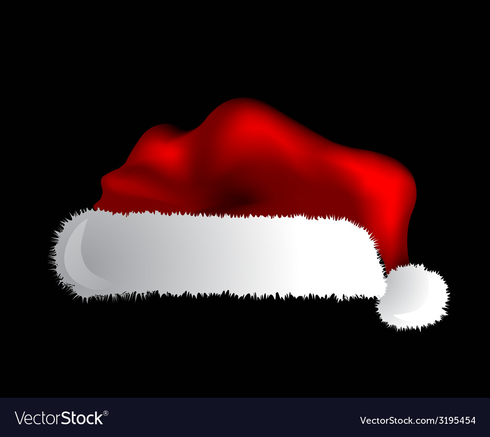 Santa claus cap isolated over black background vector | Price: 1 Credit (USD $1)