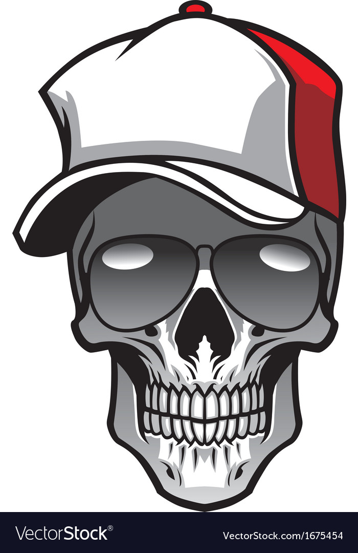 Skull wearing hat and sunglasses vector | Price: 1 Credit (USD $1)