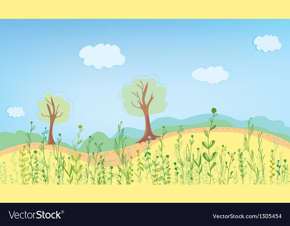Summer landcape with grass vector | Price: 1 Credit (USD $1)