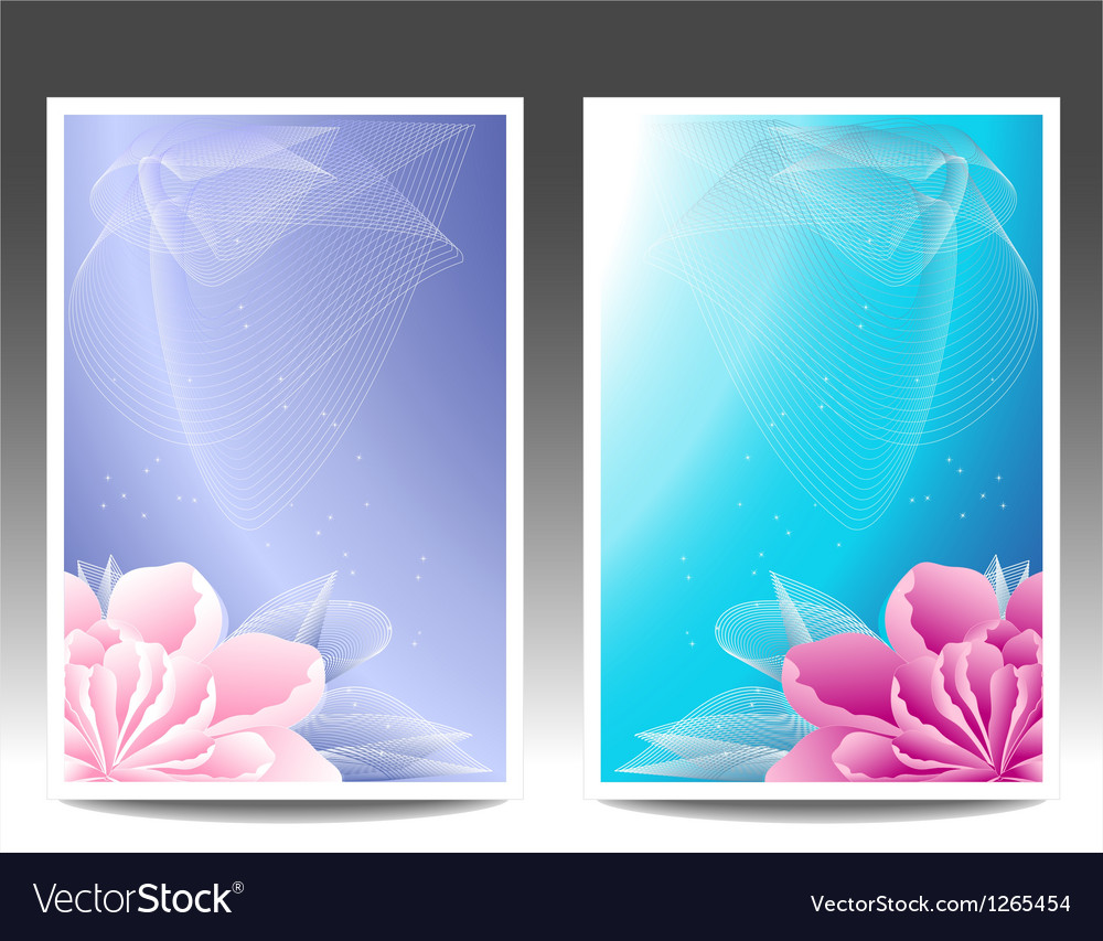 Two flowers banners or background with pink magen vector | Price: 1 Credit (USD $1)