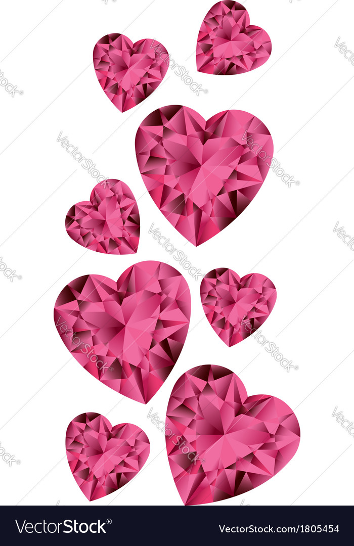 White background with ruby gemstone hearts vector   Price: 1 Credit (USD $1)