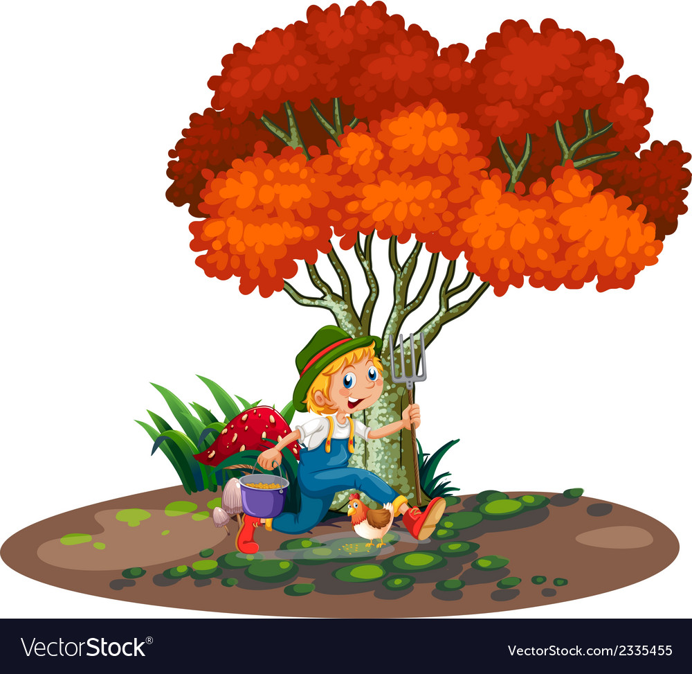 A happy young gardener vector | Price: 3 Credit (USD $3)