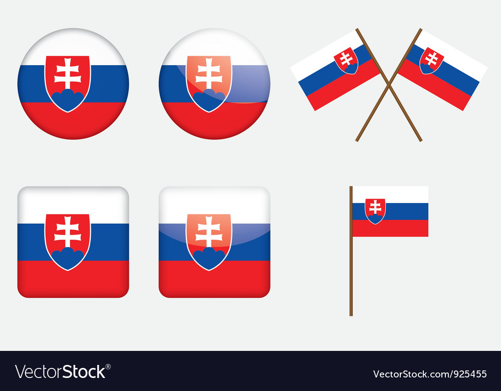 Badges with flag of slovakia vector | Price: 1 Credit (USD $1)
