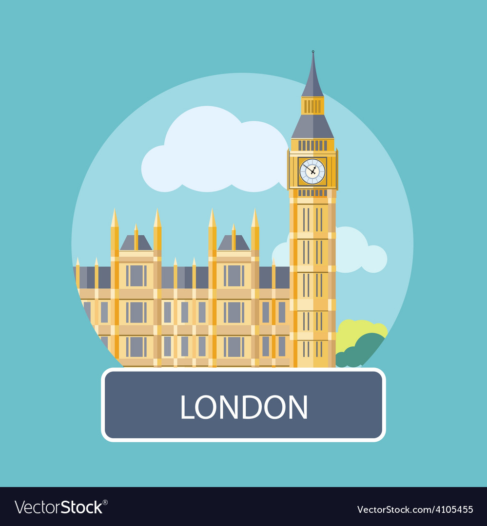 Big ben and westminster bridge  london uk vector | Price: 1 Credit (USD $1)