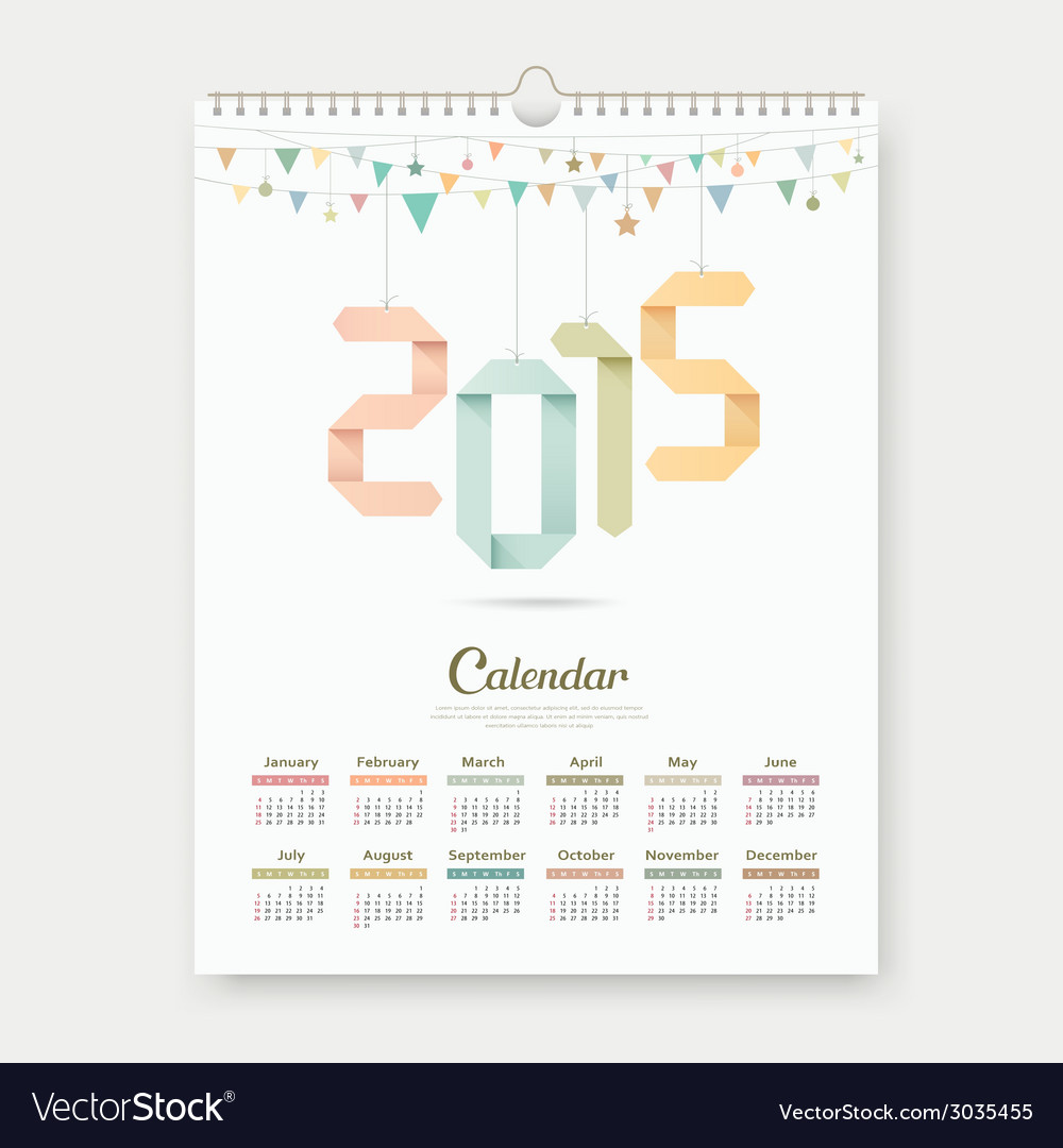 Calendar 2015 paper origami number template design vector | Price: 1 Credit (USD $1)