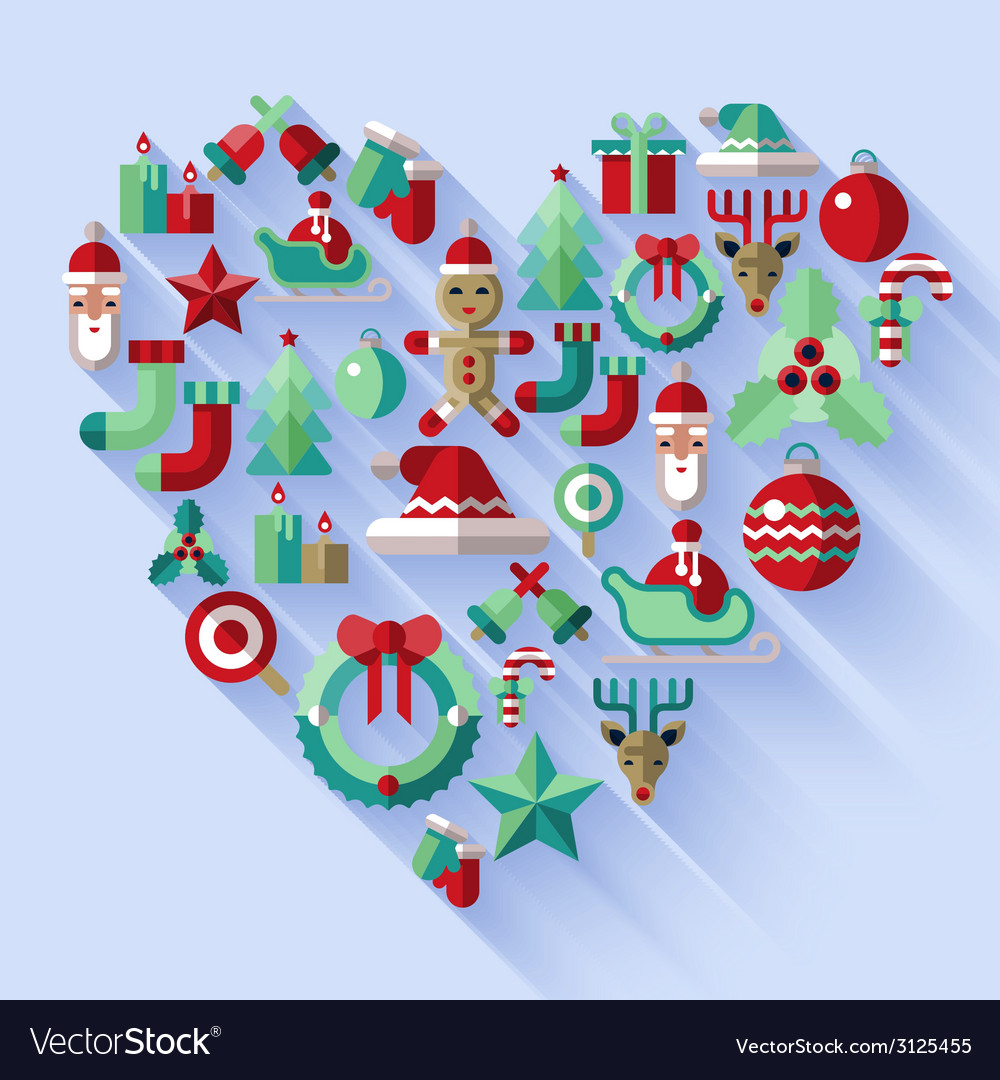 Christmas icons heart vector | Price: 1 Credit (USD $1)