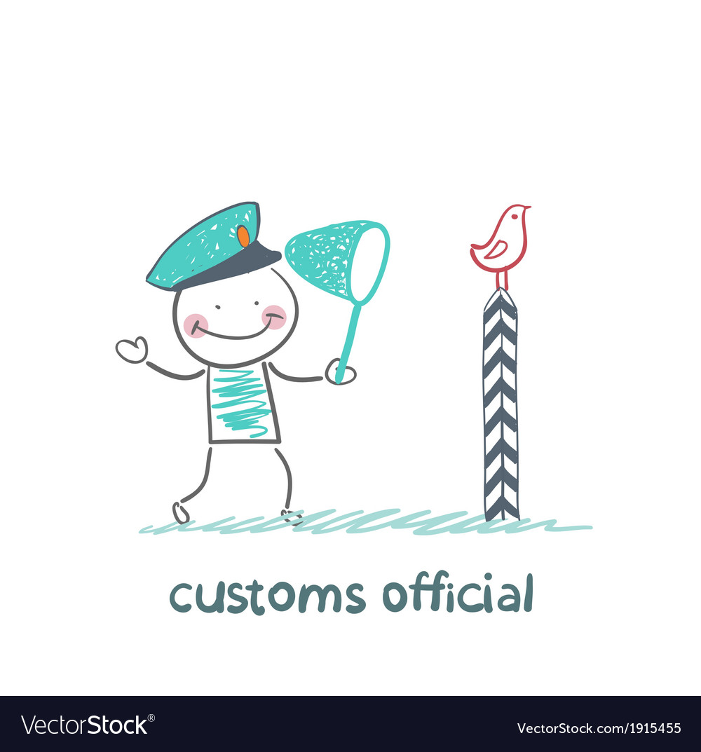 Customs official bird catches the butterfly net vector | Price: 1 Credit (USD $1)