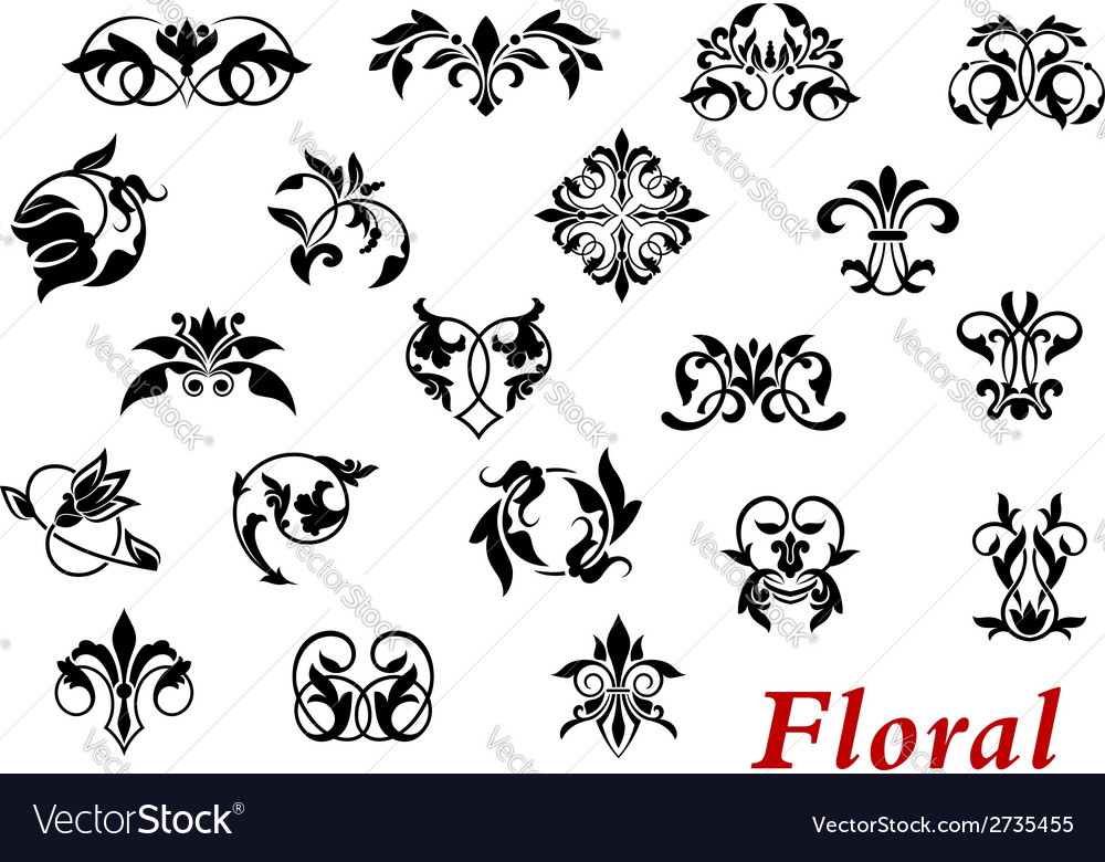 Floral ornamental elelments and vignettes vector | Price: 1 Credit (USD $1)