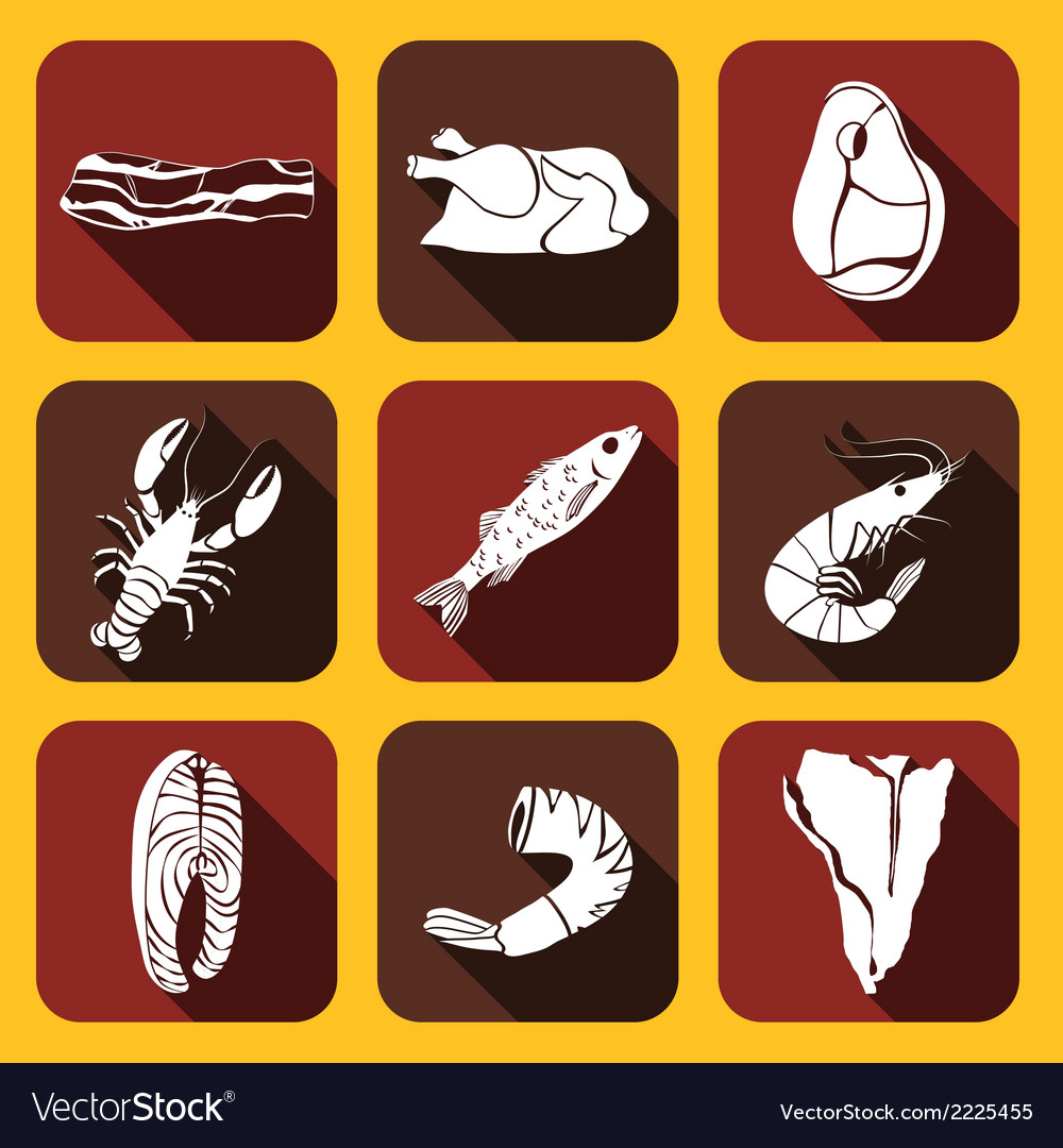 Food fish and meat icons vector | Price: 1 Credit (USD $1)