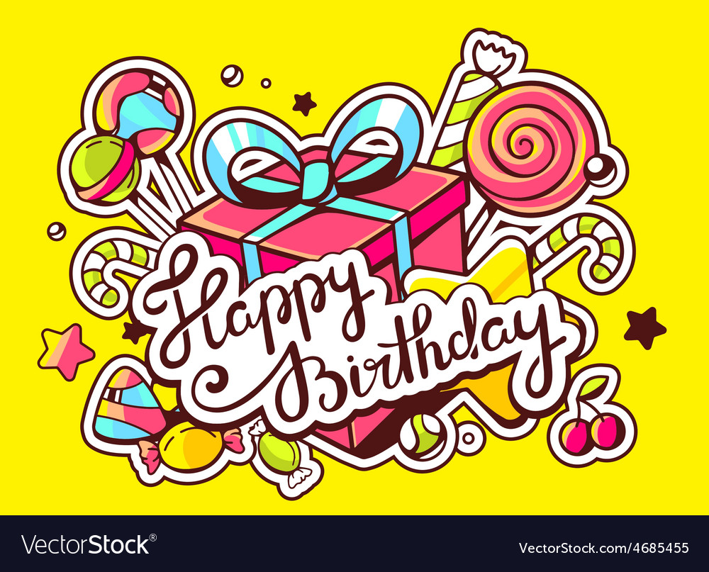 Gift box and confection with text happy vector | Price: 3 Credit (USD $3)