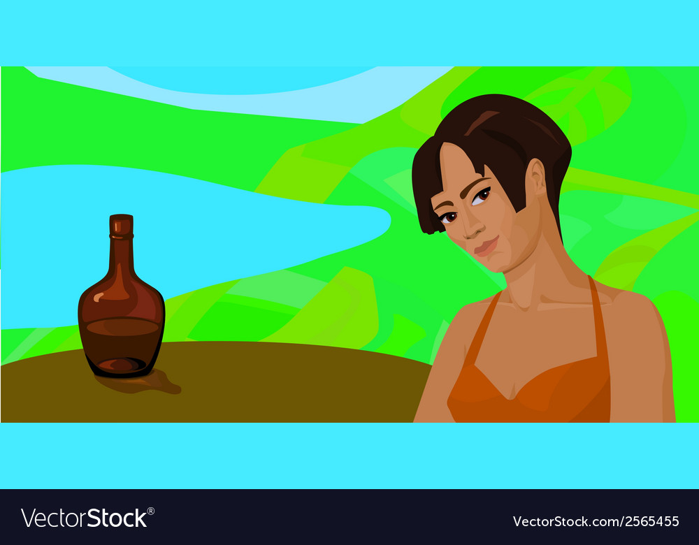Girl outdoors at a table with a bottle vector | Price: 1 Credit (USD $1)