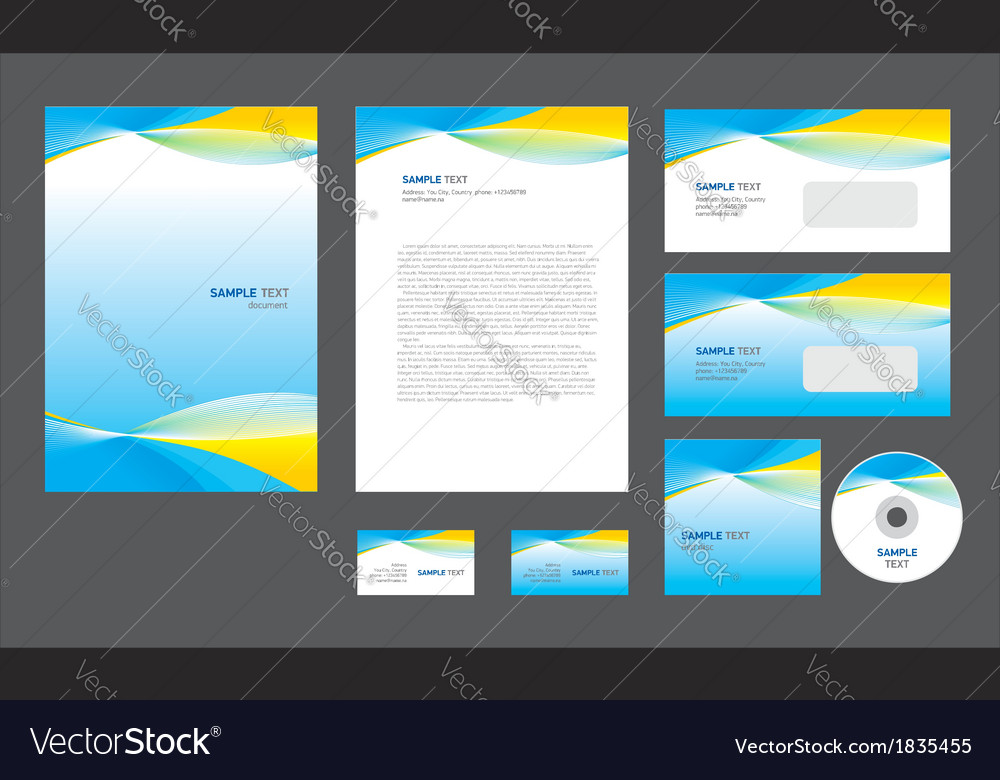 Professional corporate identity yellow blue white vector | Price: 1 Credit (USD $1)
