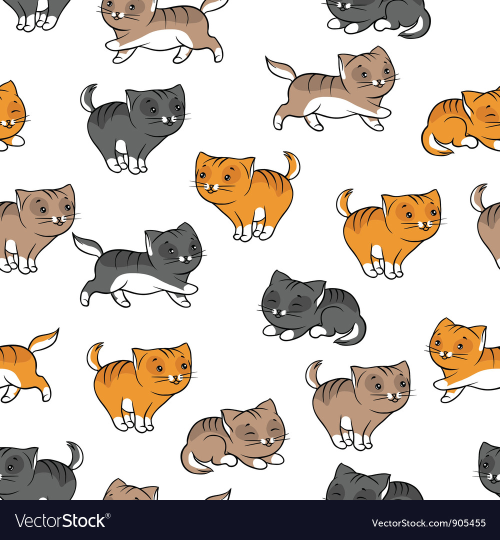 Seamless pattern with funny cats vector | Price: 1 Credit (USD $1)