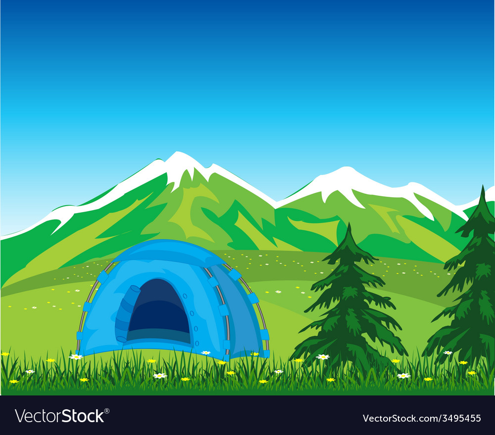 Tent in mountain vector | Price: 1 Credit (USD $1)
