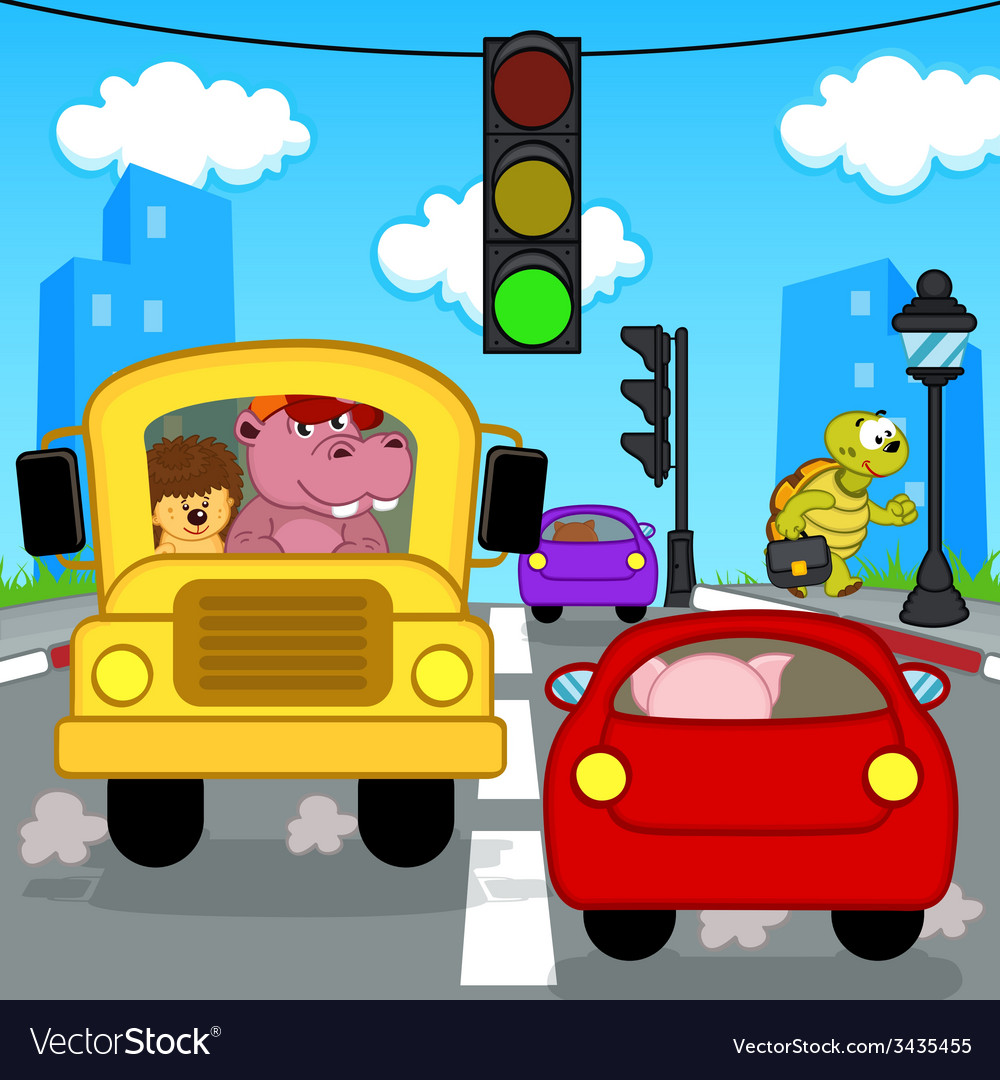 Transport traffic in city vector | Price: 1 Credit (USD $1)