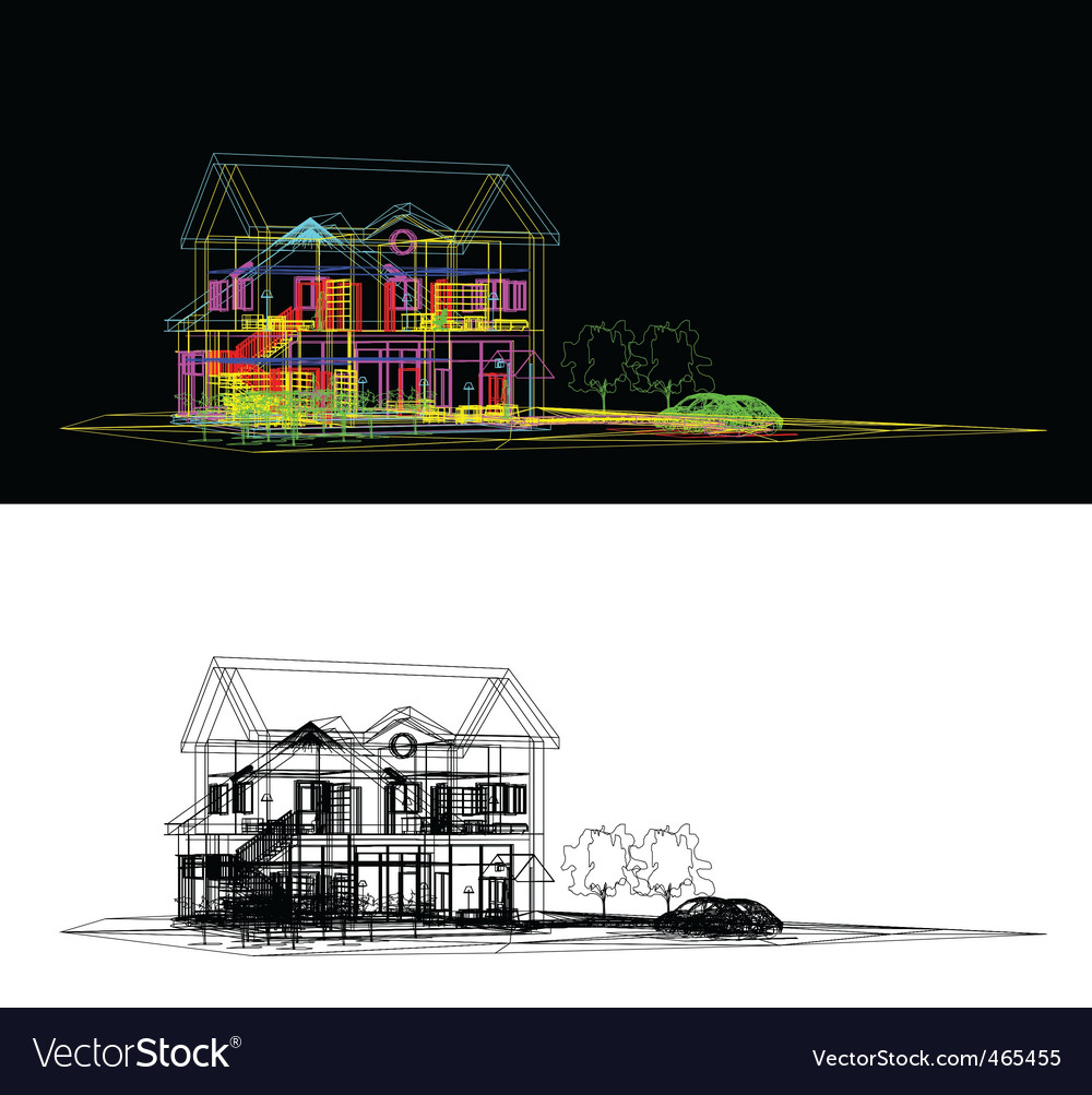Wireframe of cottage vector | Price: 1 Credit (USD $1)