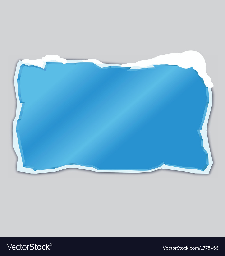 Blue ice frame with snow vector
