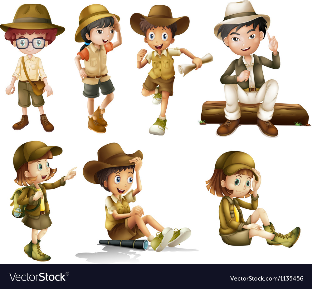 Boys and girls in safari costume vector | Price: 3 Credit (USD $3)