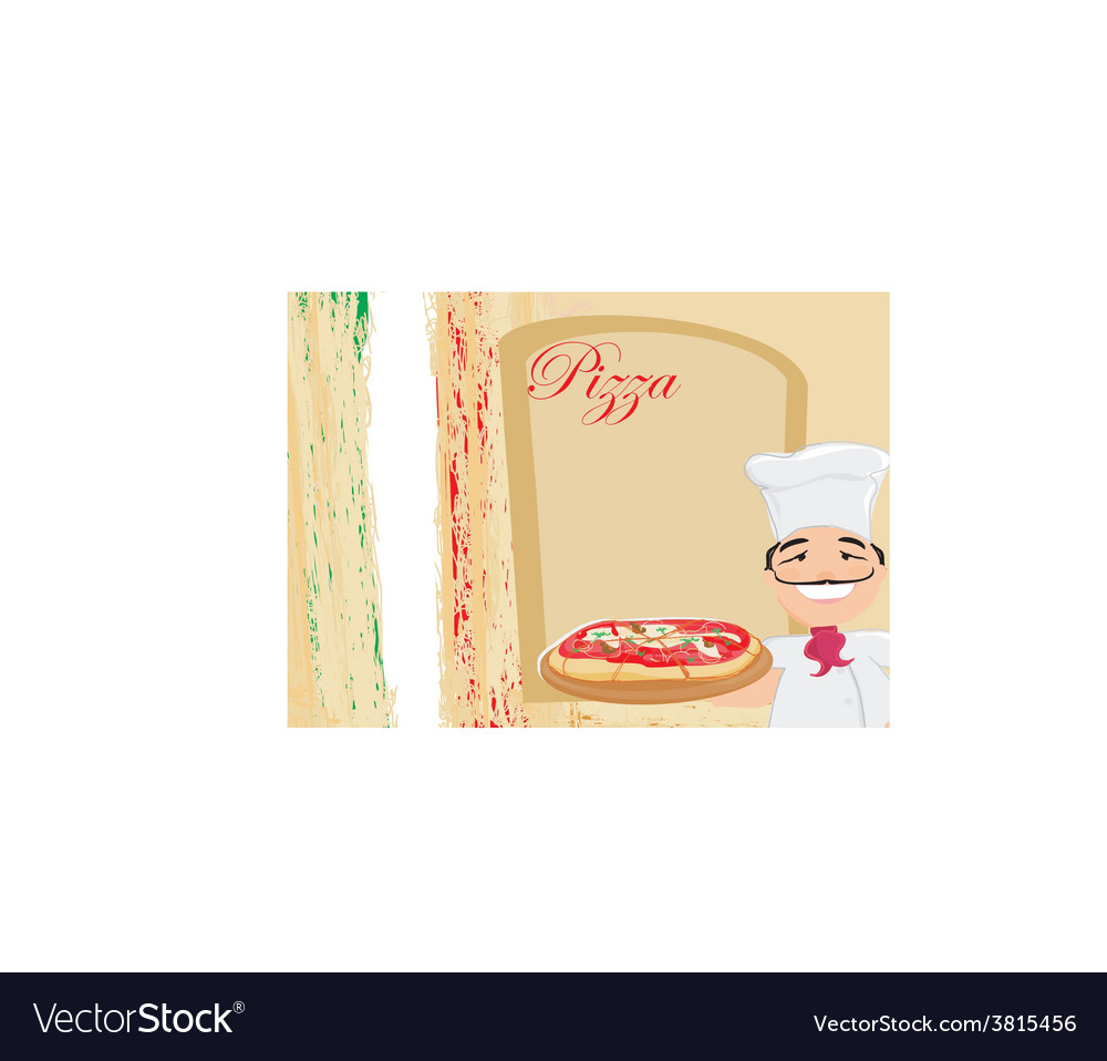 Chef with pizza - menu template vector | Price: 1 Credit (USD $1)