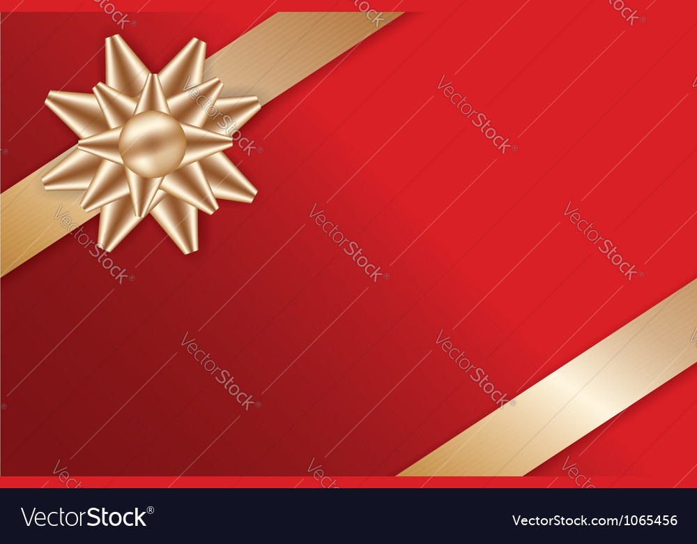 Festive golden bow on red background vector | Price: 1 Credit (USD $1)