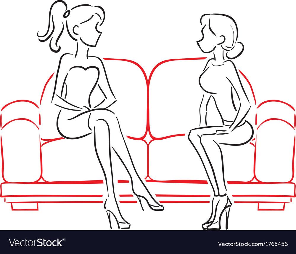 Girlfriends talking sitting on sofa vector   Price: 1 Credit (USD $1)