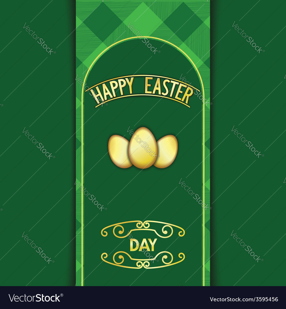 Green happy easter card vector | Price: 1 Credit (USD $1)