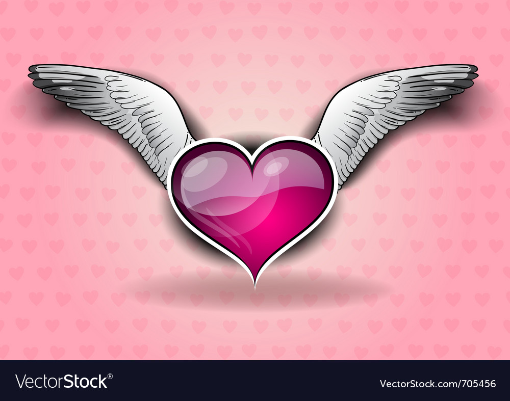 Heart with the wings on the background vector | Price: 1 Credit (USD $1)