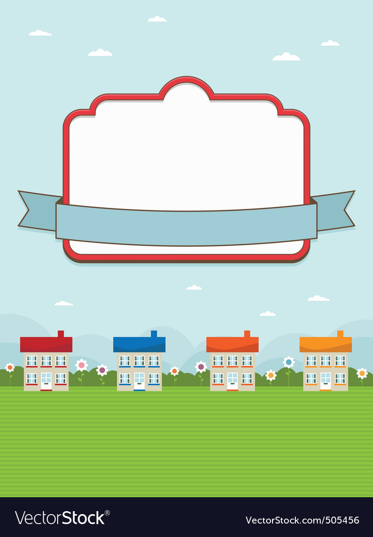 House landscape with frame vector | Price: 1 Credit (USD $1)