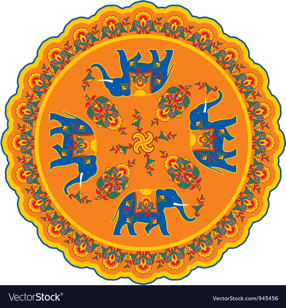 Indian elephant pattern rosette vector | Price: 1 Credit (USD $1)