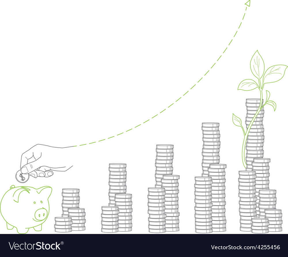 Money growth stacks of coins and seedling piggy vector | Price: 1 Credit (USD $1)