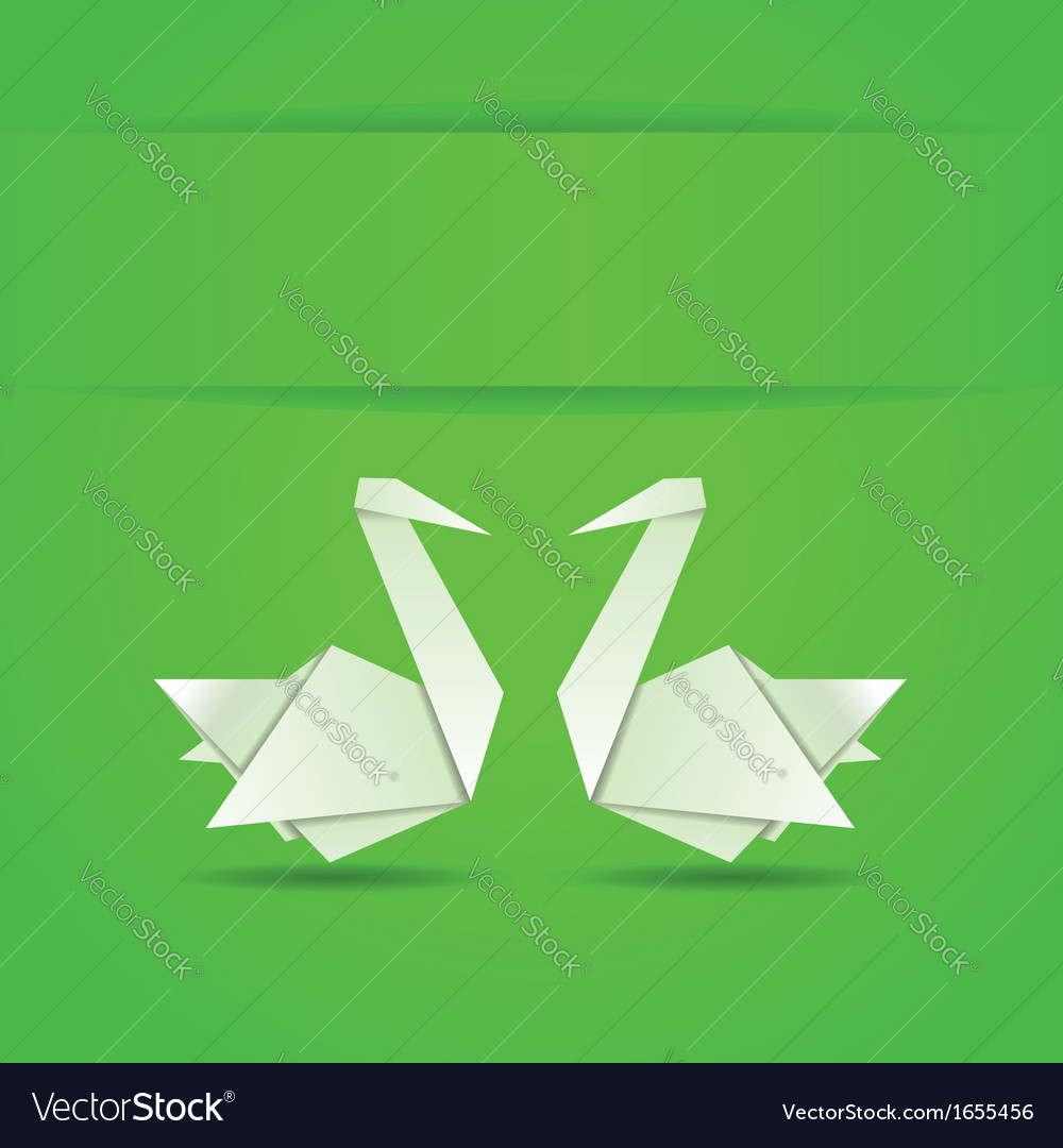 Origami swans on green background vector | Price: 1 Credit (USD $1)