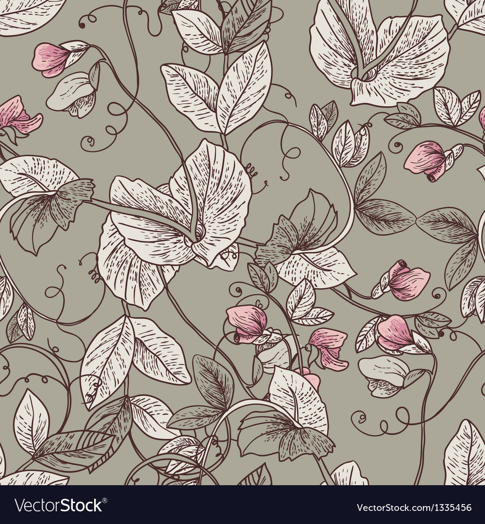 Seamless floral background with blooming peas vector | Price: 1 Credit (USD $1)