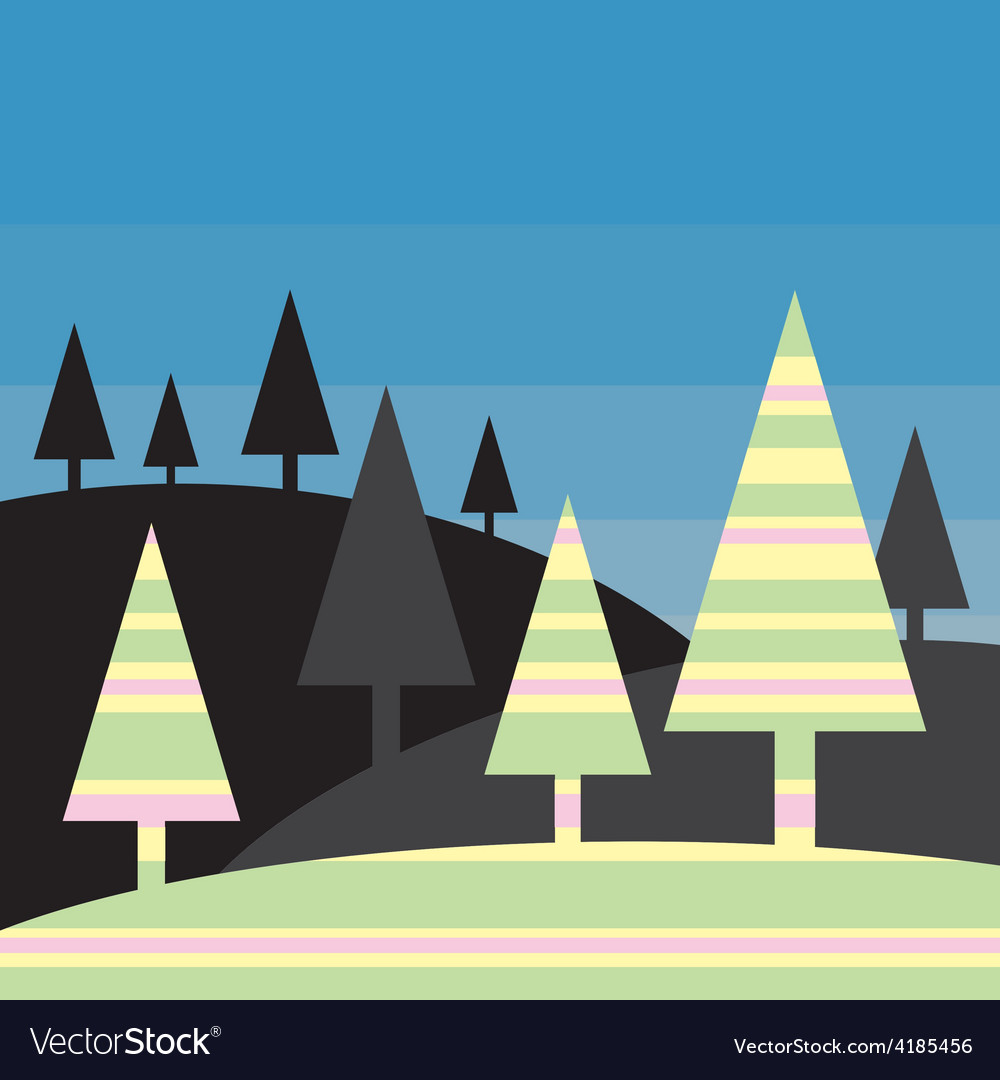 Silhouette landscape - stylized colorful trees vector | Price: 1 Credit (USD $1)
