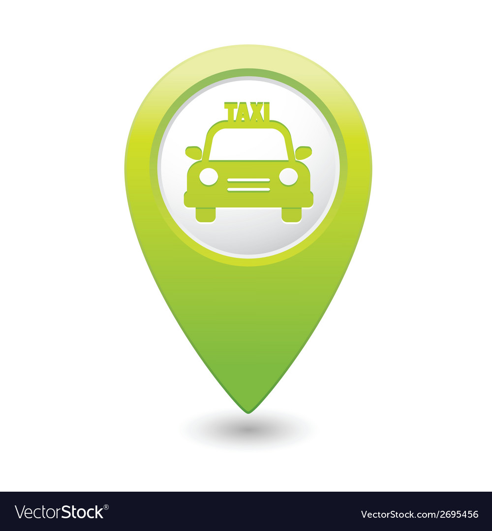 Taxi icon green map pointer vector | Price: 1 Credit (USD $1)