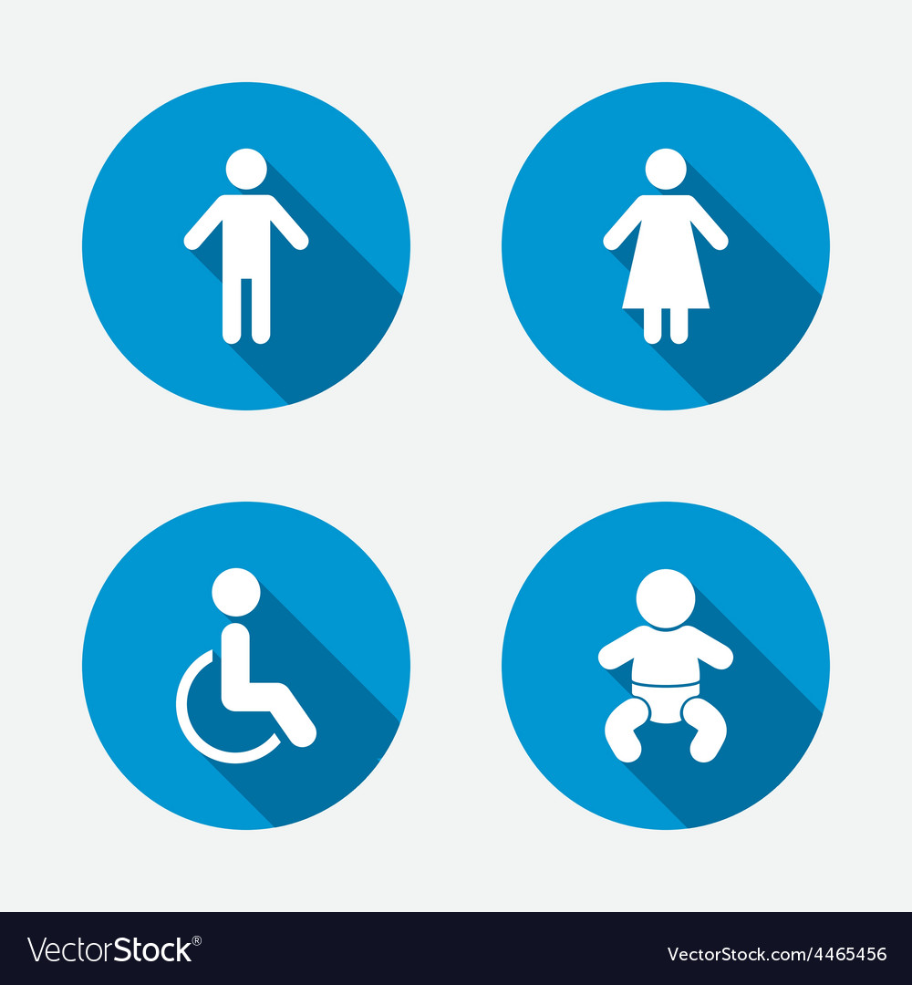 Wc toilet icons human male or female signs vector | Price: 1 Credit (USD $1)