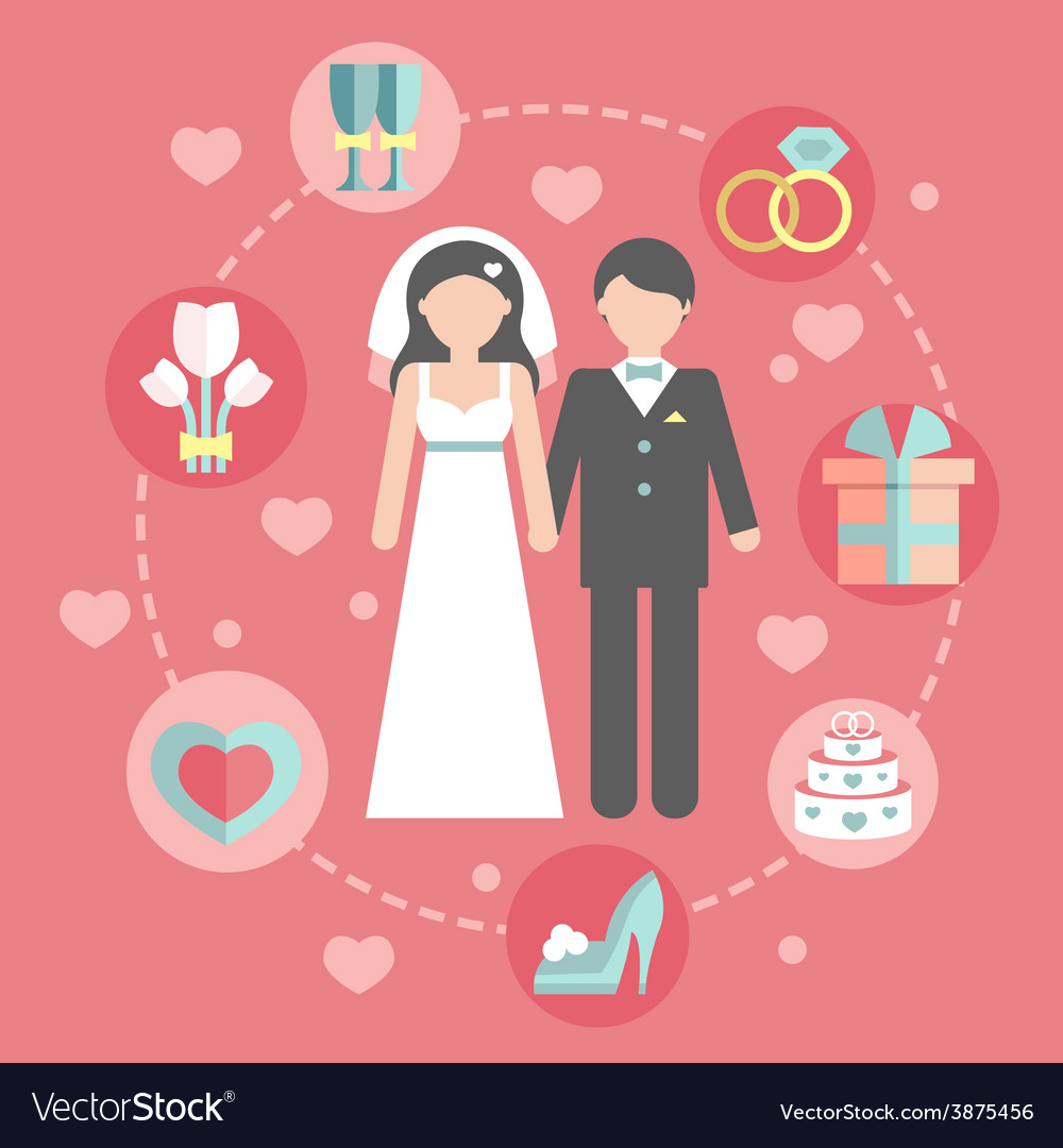 Wedding infographic set with cartoon bride and vector | Price: 1 Credit (USD $1)