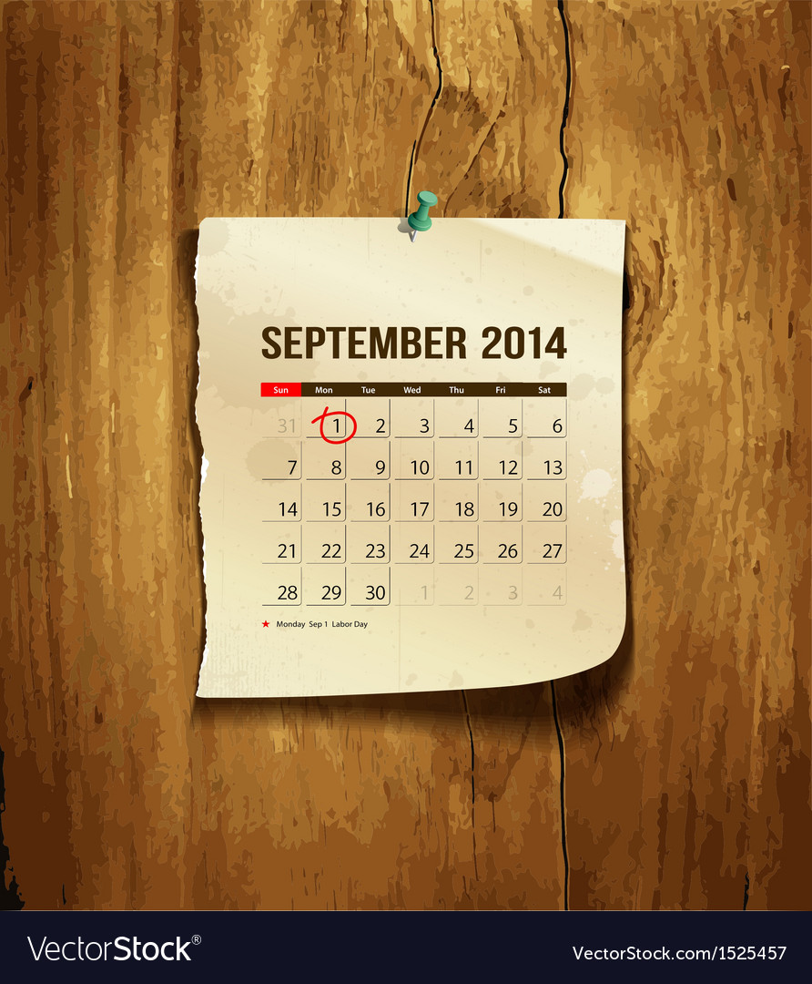 Calendar september 2014 vector | Price: 1 Credit (USD $1)