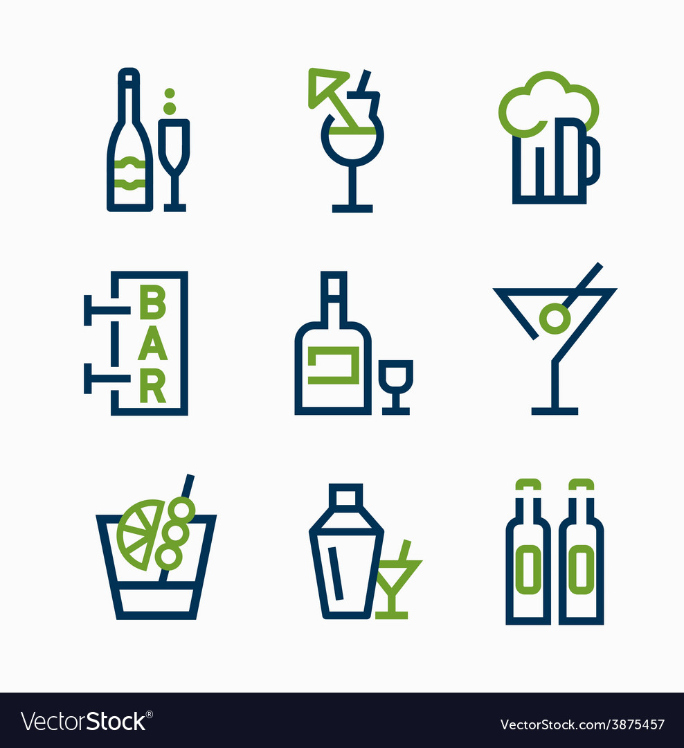 Different kind of drink icons icon set vector | Price: 1 Credit (USD $1)