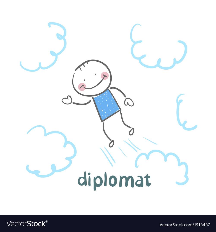 Diplomat flies through the sky vector   Price: 1 Credit (USD $1)