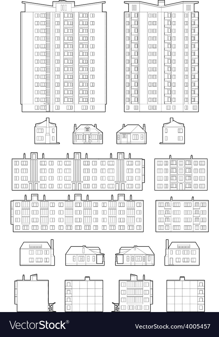 Dwelling buildings vector | Price: 1 Credit (USD $1)