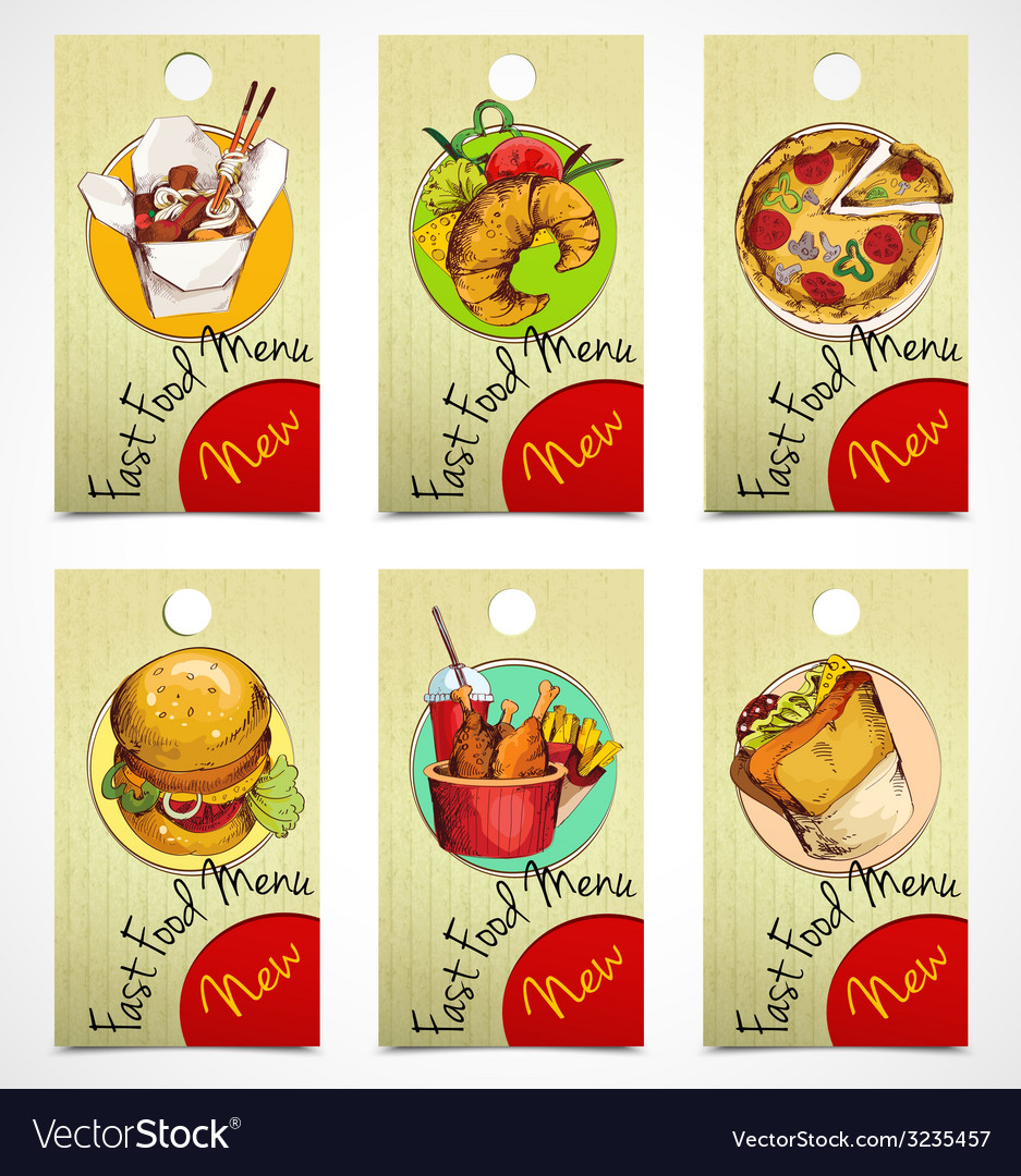 Fast food tags vector | Price: 1 Credit (USD $1)