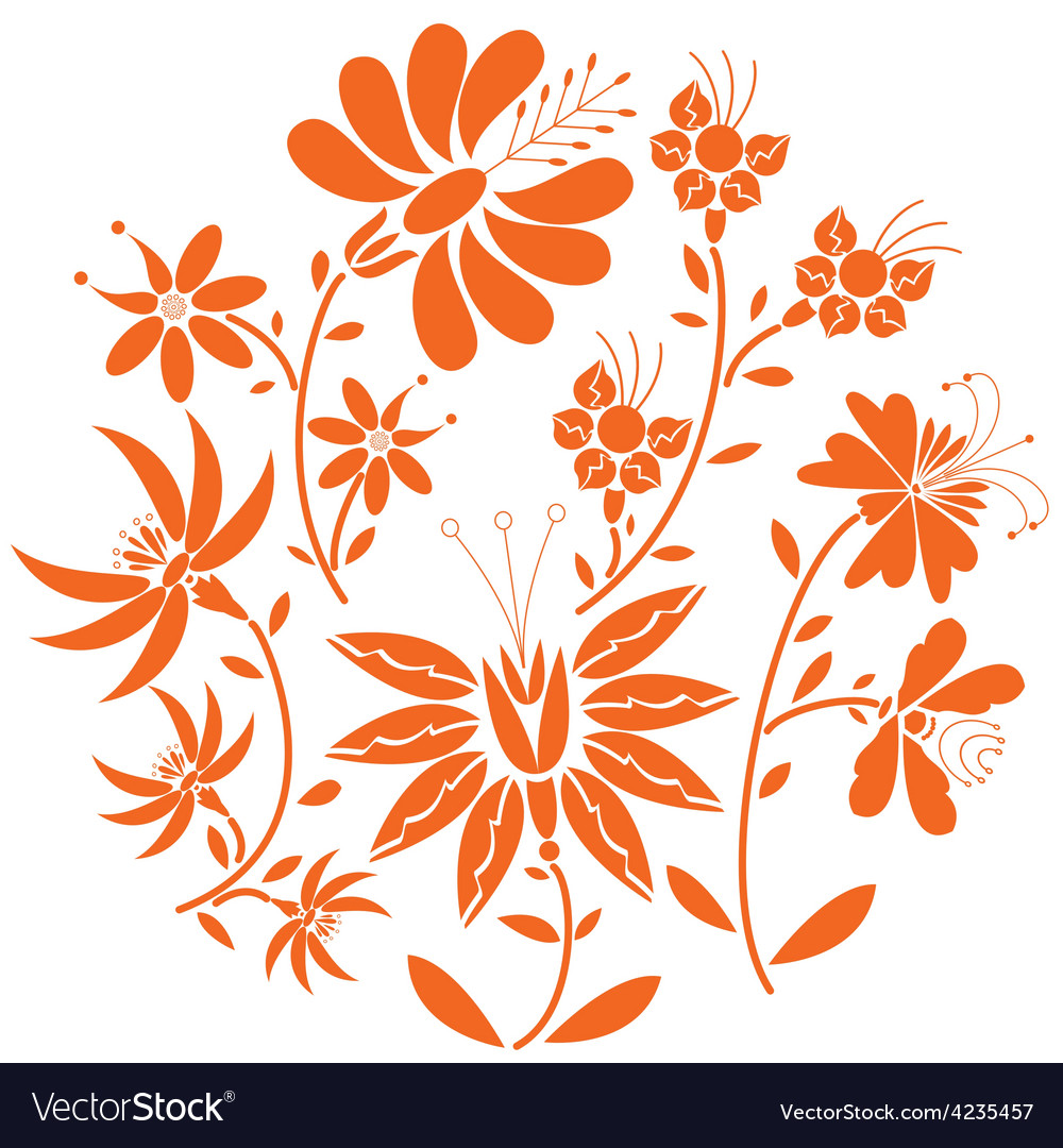Floral fol pattern in circle vector   Price: 1 Credit (USD $1)