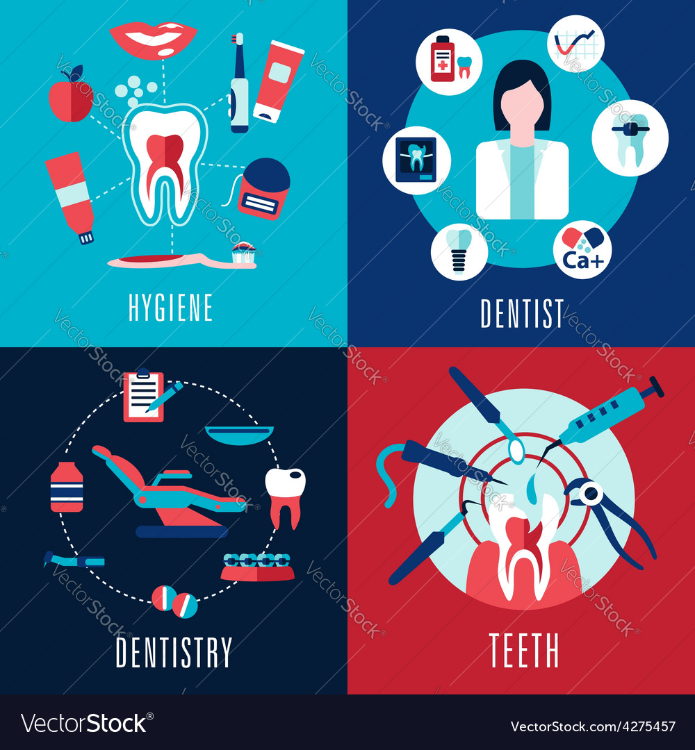 Medical flat concept with dentistry infographics vector | Price: 1 Credit (USD $1)